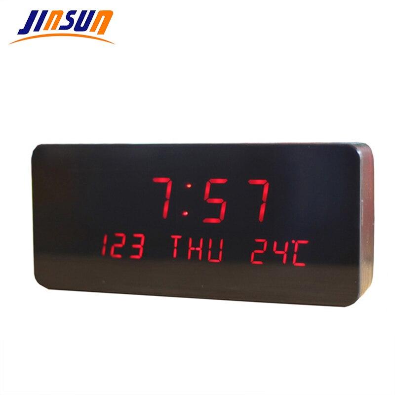 JINSUN 현대 디지털 알람 시계 다기능 LED 디스플레이 시간 달력 온도 광택 reloj despertador