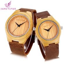 Бамбук Пара часы унисекс натуральный Материал Творческий Простые Модные Повседневные платья часы Для мужчин Для женщин Montre Femme