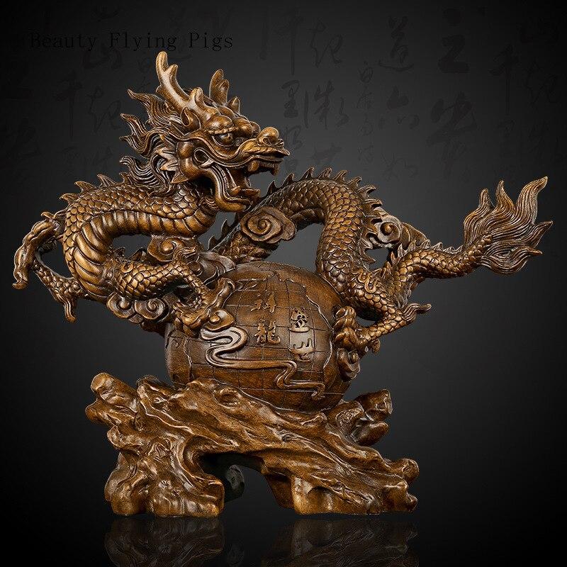 Dragon en bois massif sculpture artisanat décoration de la maison ornements artisanat sculpture zodiaque dragon chanceux nouvelle décoration de la maison