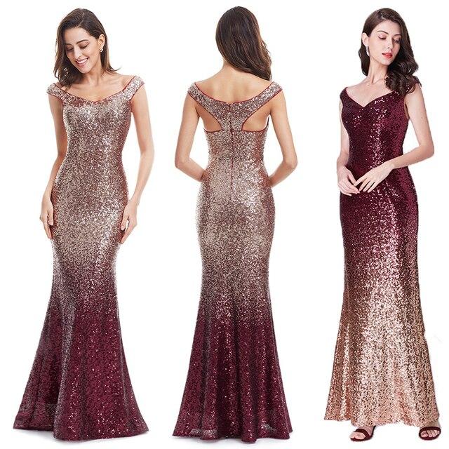 Evening Dress Long Sparkle 2020 New V-Neck Women Elegant EB29998 Sequin Mermaid Maxi Evening Party Gown Dress abendkleider 2020 2