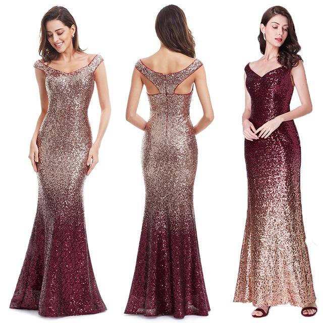 Evening Dress Long Sparkle New V-Neck Women Elegant EB29998 Sequin Mermaid Maxi Evening Party Gown Dress abendkleider 2018