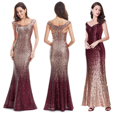 Evening-Dress Maxi Party-Gown Sequin Sparkle Mermaid Elegant Long Women New V-Neck EB29998
