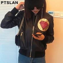 Ptslan 2017 Women S Genuine Leather Bomb Jacket Motorcycle Motorbike Real Sheepskin Lambskin Natural Jackets Casual