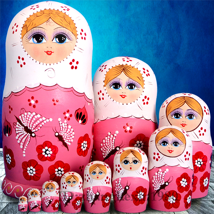 Beautiful Pink Doll Wooden Toys Matryoshka Doll Kids Gift Russian Nesting Dolls Baby Toy Girl Doll 10pcs