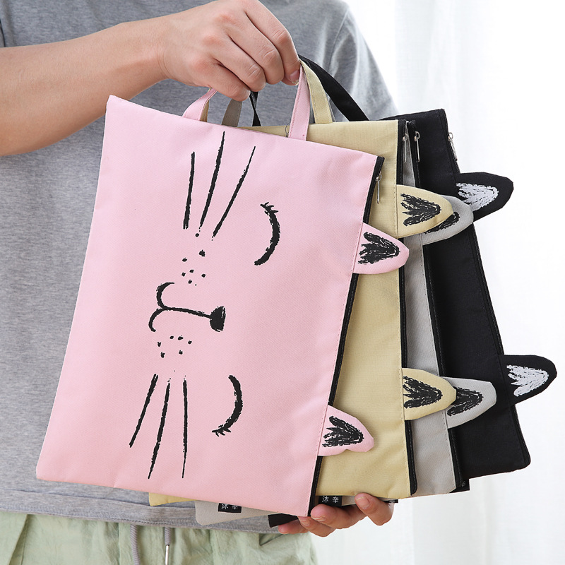 XF21 Cute Kawaii Cat A4 Double Zipper Canvas Document Bag Business Briefcase Storage Papers File Folder Student Stationery canvas men handbag a4 file folder document bag business briefcase paper storage organizer bag stationery school student gift