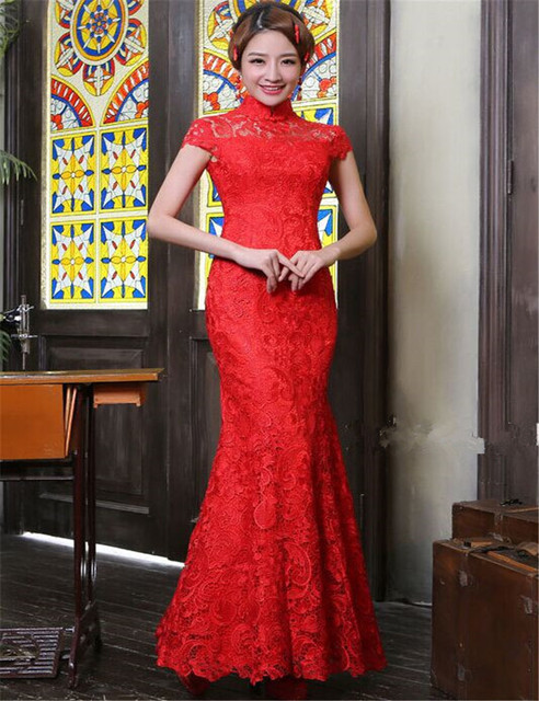 Brand Qipao Design Red Lace Cheongsam Dress Sexy Chinese Lace Hollow-out Open Back Long Cheongsam Dresses Maxi Dress Plus Size