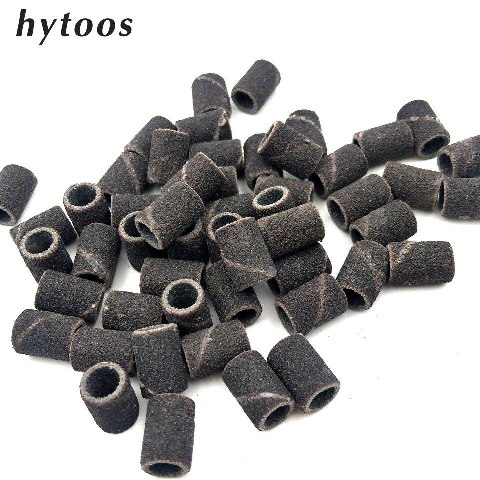HYTOOS 100Pcs/set Black Nail Art Sanding Bands Pedicure Tools Electric Nail Drill Accessories Foot Care Tools 80# 150# 240#