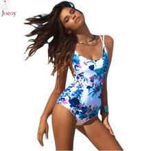 Women Multicolor Floral Print Lace Up Open Back One Piece Swimsuit Sexy Swimwear 2016 New Summer Beach Slim Cami Bathing Suit