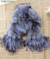 2018 new style fashion genuine fox fur scarf with real rex rabbit fur silver fox fur collar hot selling women winter natural fur