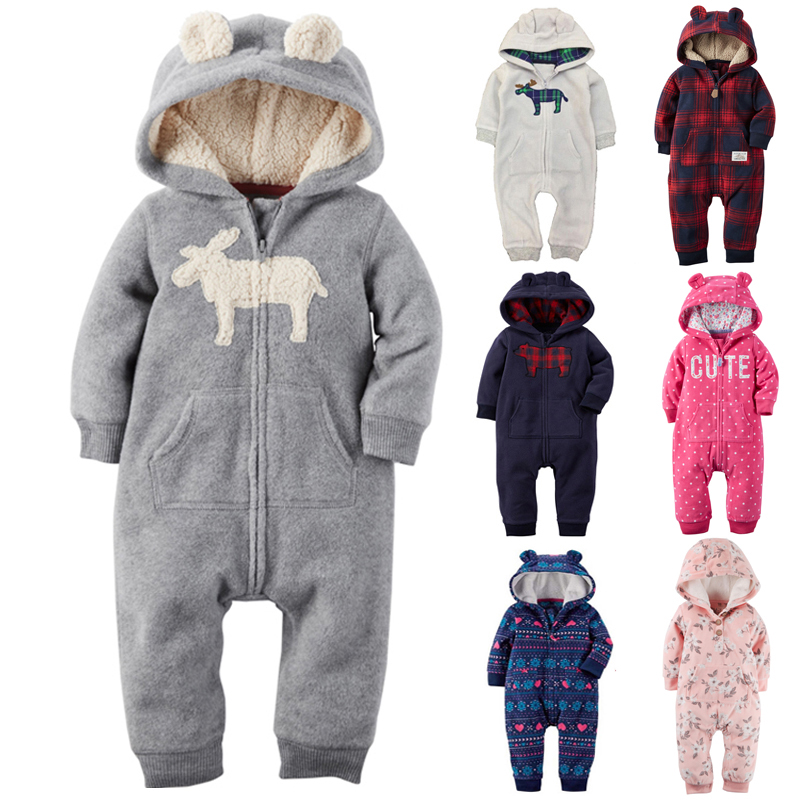 2017 New Baby Clothing Long Sleeve Rompers Winter Baby and New born Baby Hooded Fleece soft