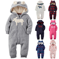 2017 New Baby Clothing Long Sleeve Rompers Winter Baby and New-born Baby Hooded Fleece  soft Cotton