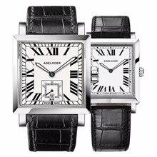 Agelocer пара Часы для Для мужчин Для женщин квадратный Повседневные часы Пояса из натуральной кожи группа Водонепроницаемый Часы 3301-3401