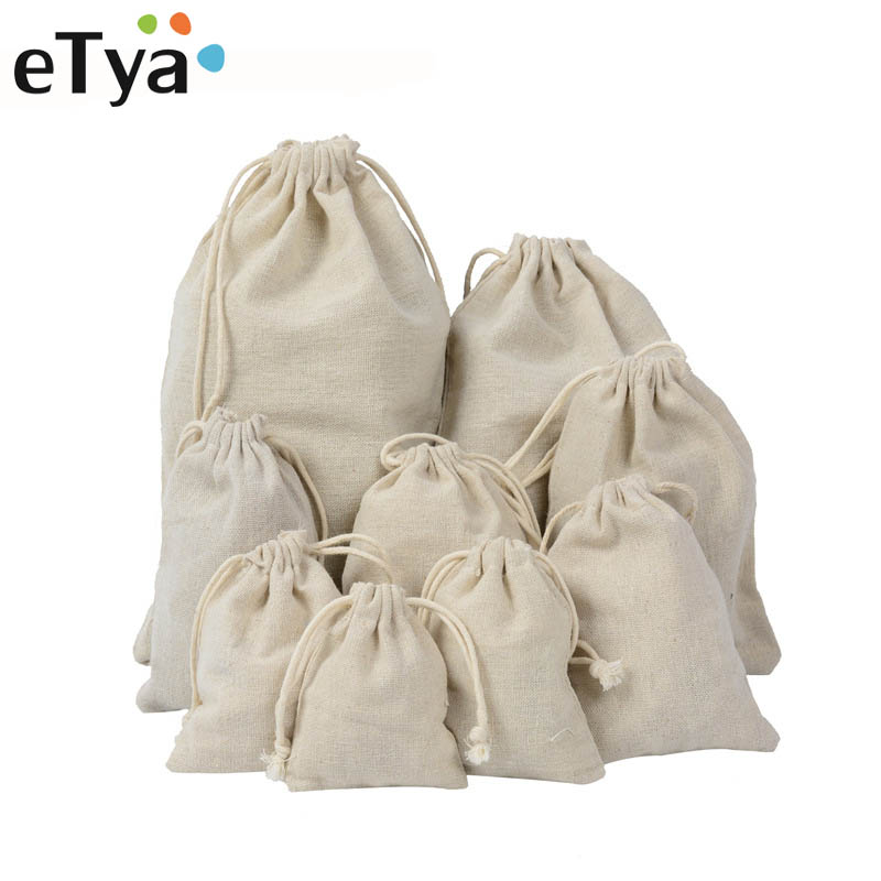 eTya Handmade Cotton Linen Storage Package Bag Drawstring Bag Small Coin Purse Travel Women Small Cloth Bag Christmas Gift pouch ...