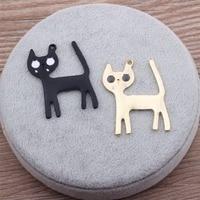 Wholesale 40PCS 31*41MM DIY Jewelry Charms Cute Animal Cat Alloy Enamel Pendant Charm Craft Bracelet Necklace Keyring Necklace