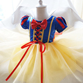 De lujo princess snow white girl vestidos disfraces cosplay dress up bebé tutu dress kids party desgaste tema 1 2 año de cumpleaños dress