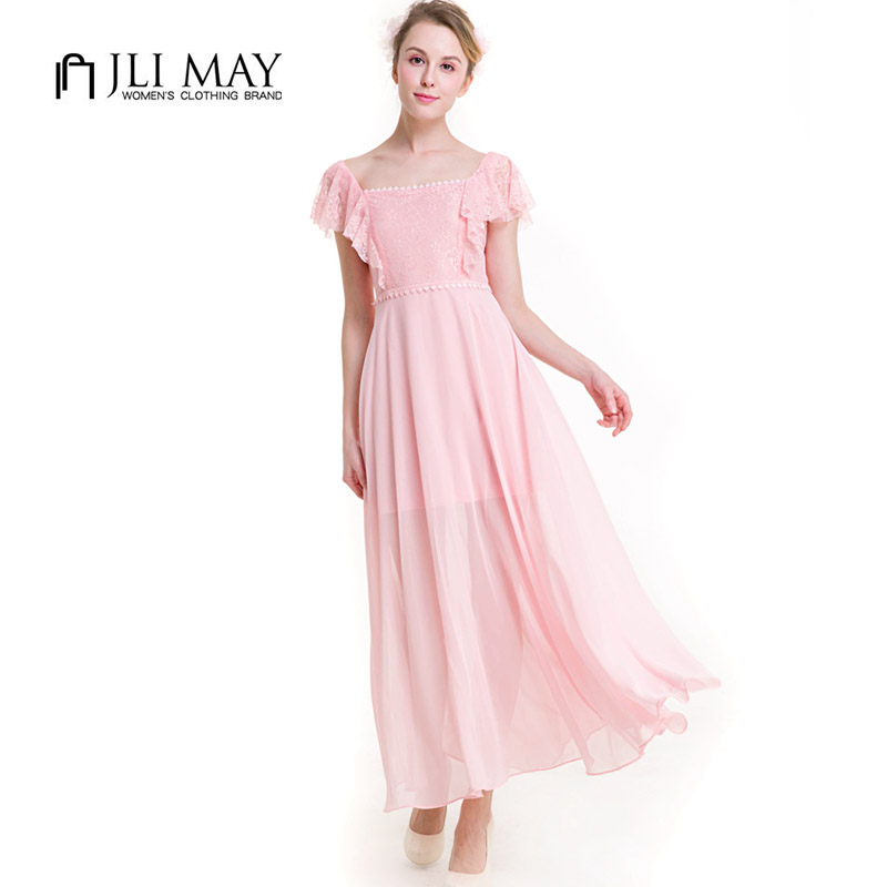 JLI MAY Summer Chiffon lace Party dress women casual Square Collar Butterfly sleeve maxi pink light green long ladies dresses