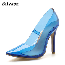 Eilyken 2018 New Women Pumps Transparent Super High Heels Sexy Pointed Toe Blue Party Shoes For Lady Thin Heels Pumps size 42