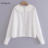 SheMujerSky Women White Shirt Peter Pan Collar Tops Blouse Wine Red Bead Button Blusa 2018