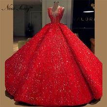 Puffy Muslim Evening Dress 2019 Custom Made Ball Gown V neck Islamic Dubai Kaftan Saudi Arabic Long Prom Dresses Robe De Soiree