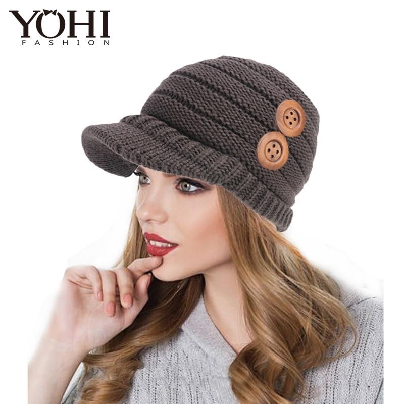Crochet beanie with wooden button