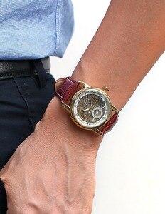 Image 5 - 男性腕時計高級ゴールデンスケルトン機械式スチームパンク男性時計自動腕時計革ストラップヘレン Horloges