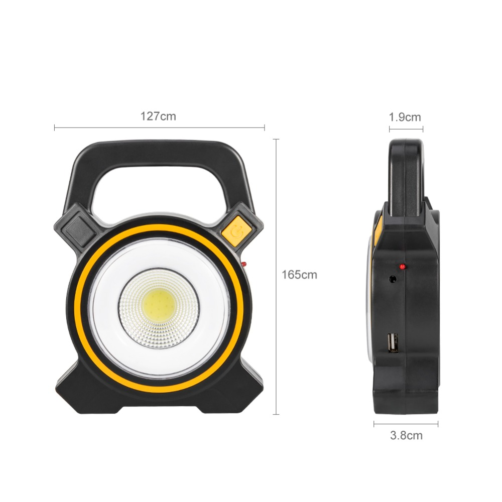 Купить с кэшбэком 30W COB Portable Spotlight 2400LM Lantern Searchlight Built in Battery USB Rechargeable Solar Camping Light Portable Lanterna