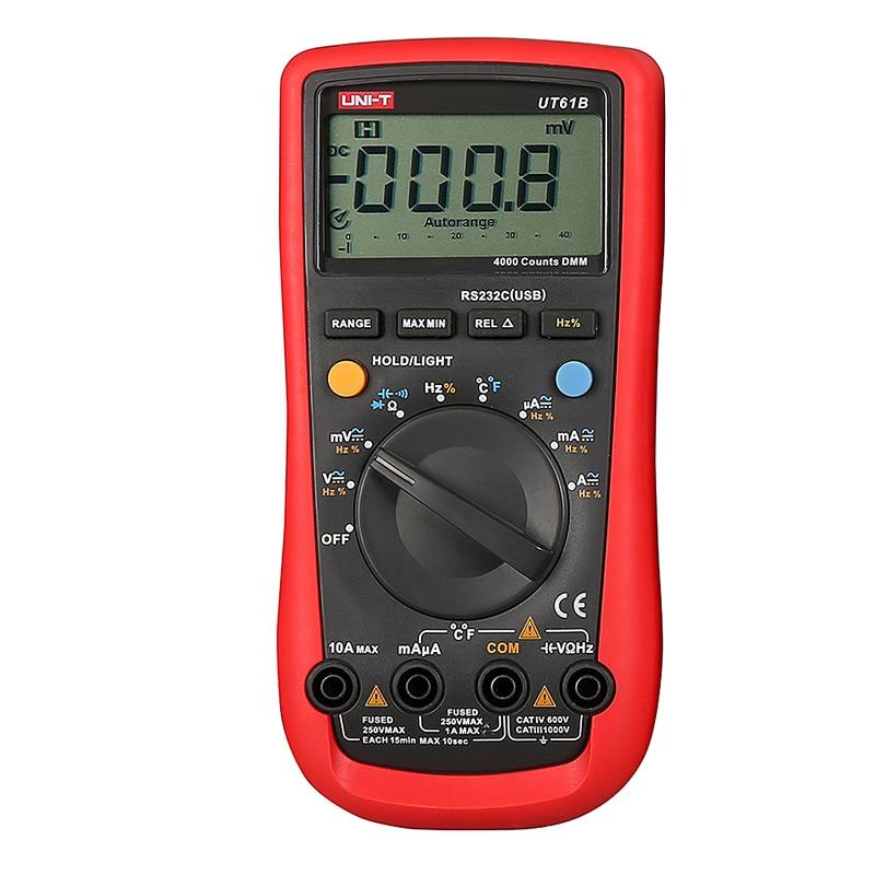 UNI-T UT61B Handheld Multimeter Ammeter Ohm Volt C/F Temperature Digital Universal Meter LCD Count 3999 AVO Meter High Precision  uni t ut60d ut 60d lcd handheld digital multifunction multimeter with autorange bandwidth 100khz 3db