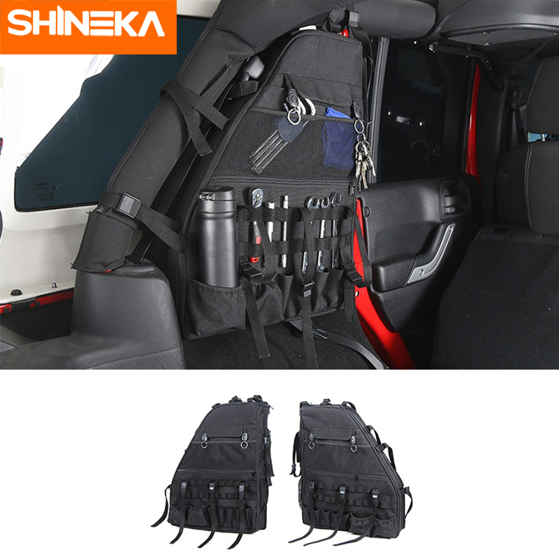 SHINEKA Stowing Tidying for Jeep Wrangler JK 2007 2017 Canvas Side Door Anti Roll Storage Bag