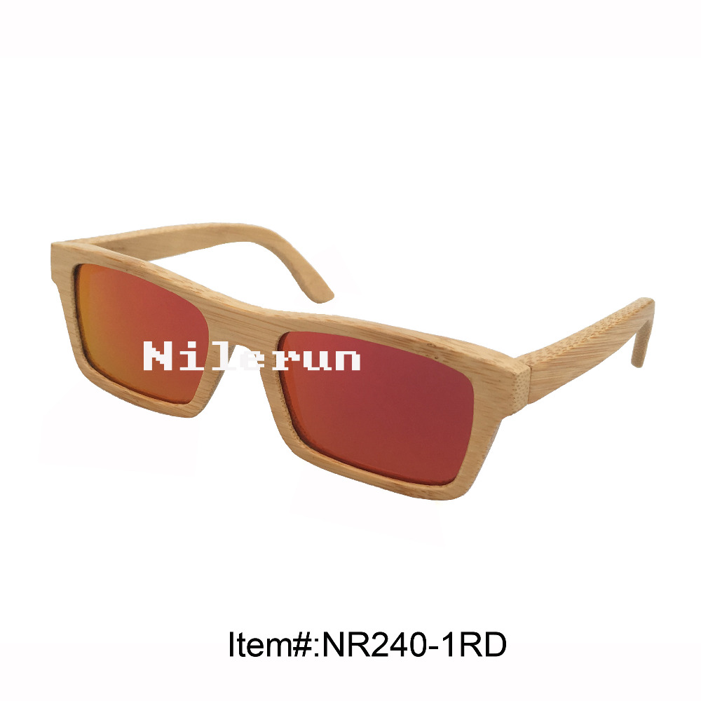 rectangle red polarized lens natural bamboo frame sunglasses