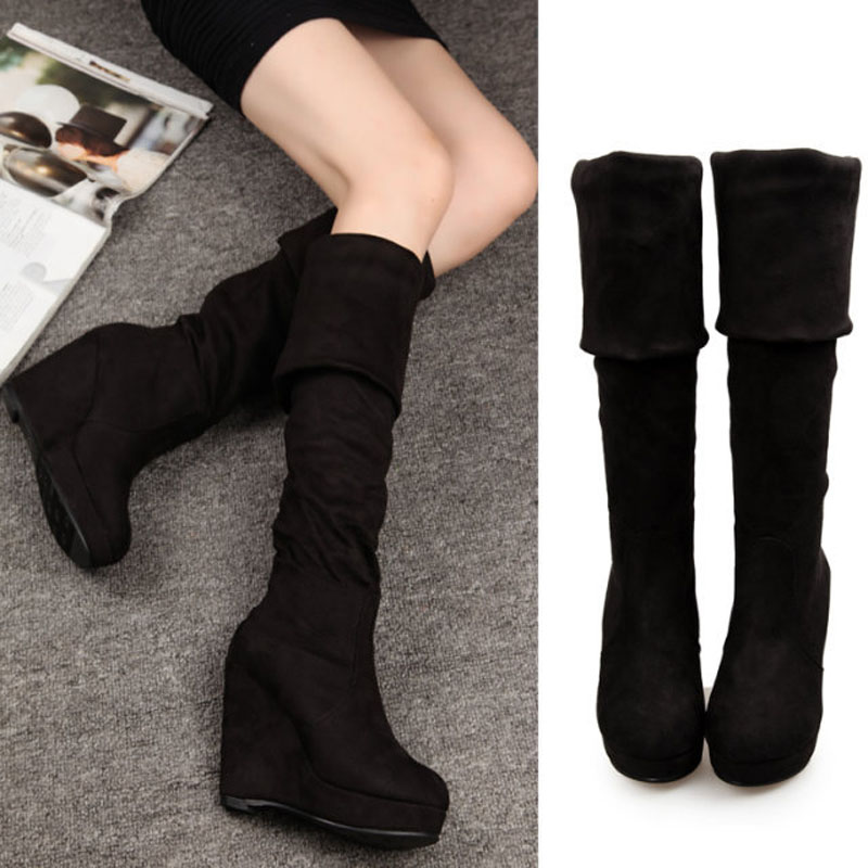Women Boots 2015 Autumn Winter Ladies Fashion Flat Bottom Boots Shoes Over The Knee Thigh High Suede Long Boots Brand Designer