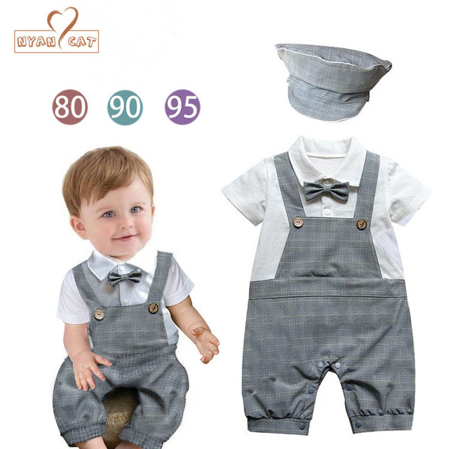 NYAN CAT Baby Strap Rompers With Hat Gentleman Short Sleeve Summer Infant Boys  One Piece Jumpsuit Outfits 2017 Baby Clothing d33d1c446ed6