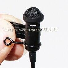 Microfones pretos mini microfono do grampo do laço do microfone de jack de 3.5mm para falar palestras de fala cabo longo de 1.2m
