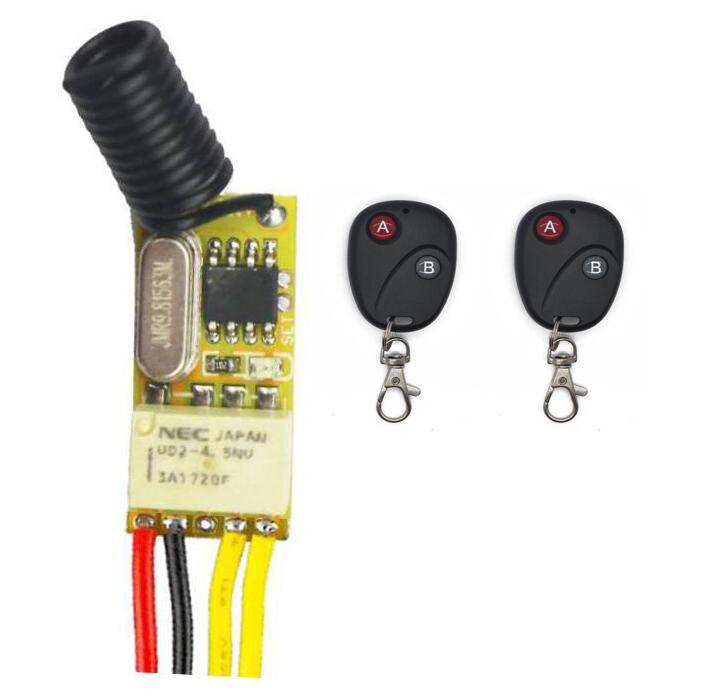Mini interrupteur relais sans fil DC 3V 3.7V 5V 6V 7V 9V 12V, télécommande, contrôleur de lampe LED, système de Micro-récepteur émetteur