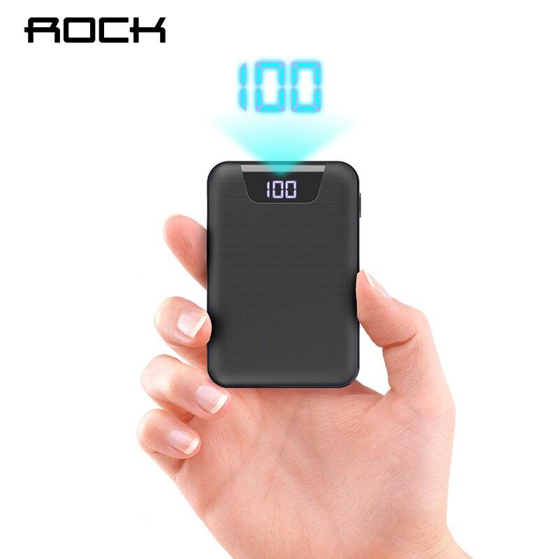 ROCK Mini banco de potencia 10000 mAh Dual puertos USB batería externa banco de energía con pantalla Digital para iphone XS Xiaomi PoverBank