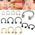 100pcs/lot Surgical 3 different Colors Piercing Nose Ring Ball Horseshoe Circular Ring Labret Nipple Hoops Nose Eyebrow Piercing