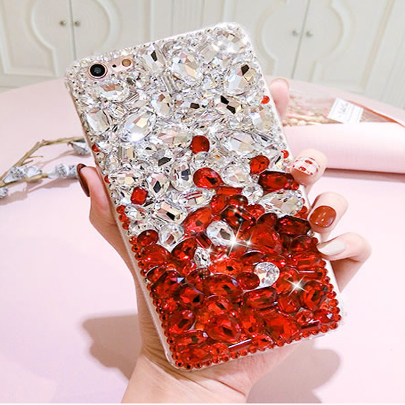 3D Crystal Diamond Bling Case For iphone 8 plus 7 x 6 6s 5 5s se 5c 4 4s Sparkle Red Gems Jewelry Cover for iphone x Coque Capa
