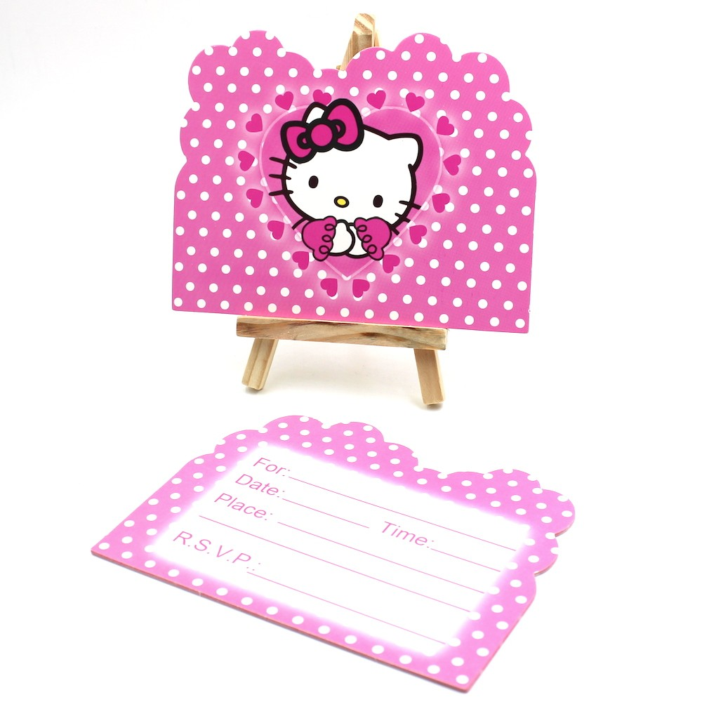 compare prices on invitations hello kitty online shopping buy low 10pcs envelop shape hello kitty cat theme party invitation card kids baby birthday festival party