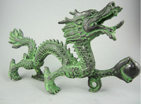 Copper Brass CHINESE crafts Asian 8.85 Elaborate Chinese Collectible Decorated Old Handwork Bronze Dragon Statue