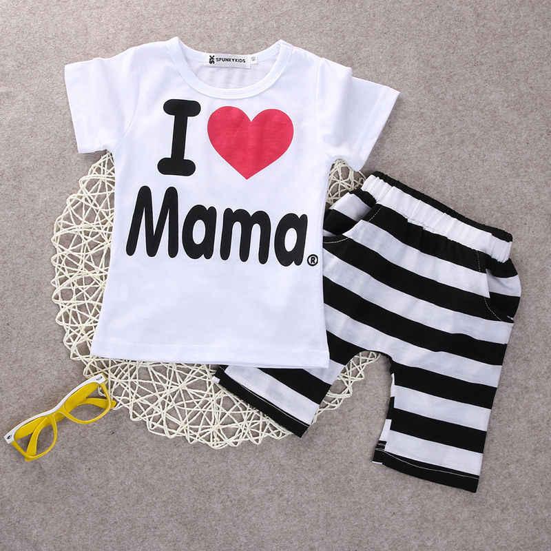 14d1e812a14eb 2PCS Toddler Infant Newborn Twins Baby Boy Girls Casual T shirt Strip Pants  Outfits Pajamas Suit