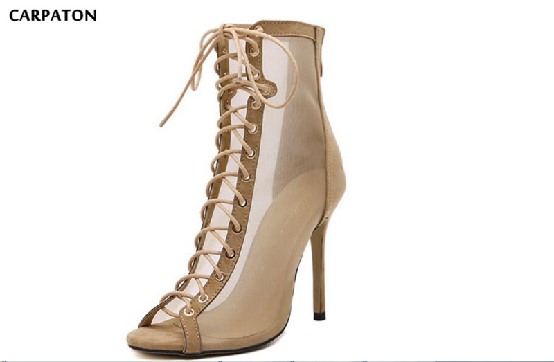 Carpaton 2019 Newest Side Net yarn Zip model Sanding Leather Novelty Fish mouth Women Thin High heels for Fashion Ladies - 2
