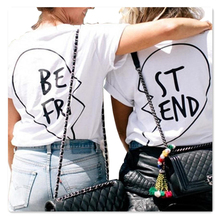 Loose Tee Funny Letters T Shirts Casual Fashion BEST FRIEND Print 2016 Short Sleeve Black Tops for Women Summer Tops Plus Size