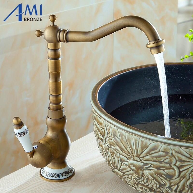 Antique Brass Kitchen Faucet Bathroom Sink Basin Brass Faucets Mixer Tap Faucet 9066AP antique brass copper kitchen faucet bronze basin kitchen basin sink mixer tap tall faucet torneira de cozinha