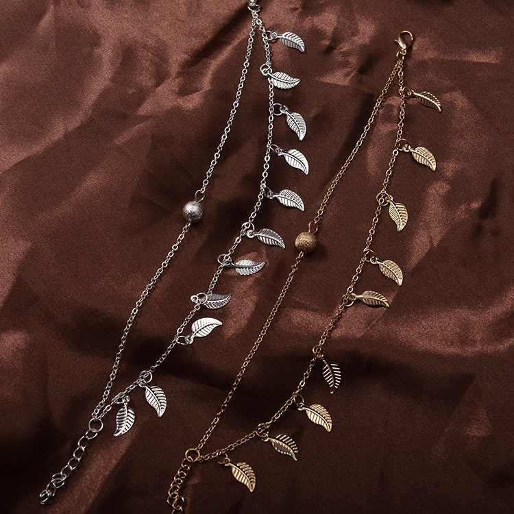 ボヘミアン手作り夏スタイルビーチ金と銀の色の三角形ジオメトリアンクレットフットチェーンアンクレット