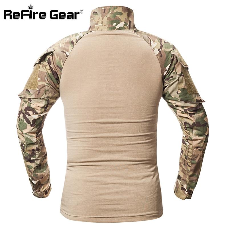 ReFire Gear Tactical Camouflage Military T Shirt Men Multicam US Army Combat Shirt Assault Camo Militar Uniform Airsoft T Shirt 6