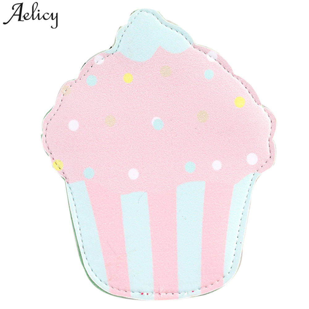 Aelicy New Cartoon Women Coin Purses And Handbags Cute Ice cream Leather Pouch Kawaii Children Wallet Small Bag For Keys Bag