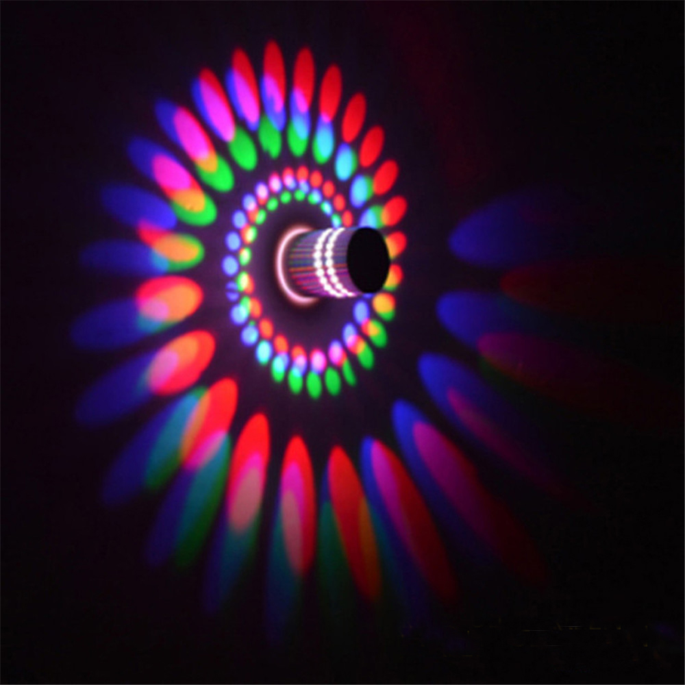 RGB Spiral LED Wall Light Ceiling Lamp 3W Wireless Remote Control Surface Install Dimmable Light ,360 Degrees Beam Angle