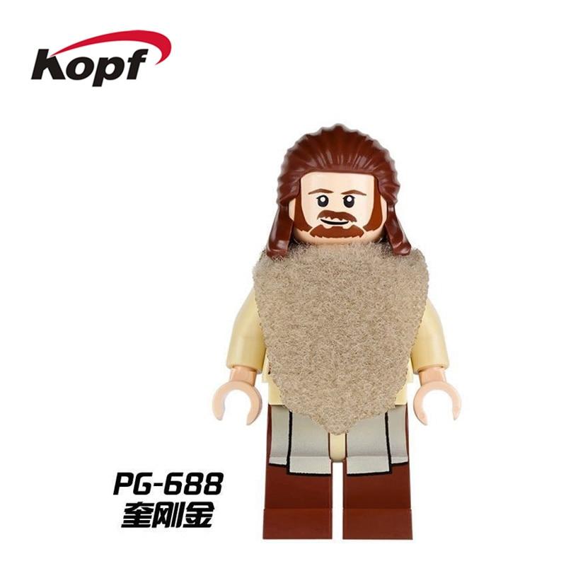 Single Sale Super Heroes Star Wars Figures Qui-Gon Jinn With Green Lightsaber Bricks Building Blocks Toys for children PG688