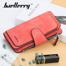 Baellerry 12 Color Zipper Buckle Women Long Wallet Card Holder Coin Pocket Photo Standard PU Solid Casual