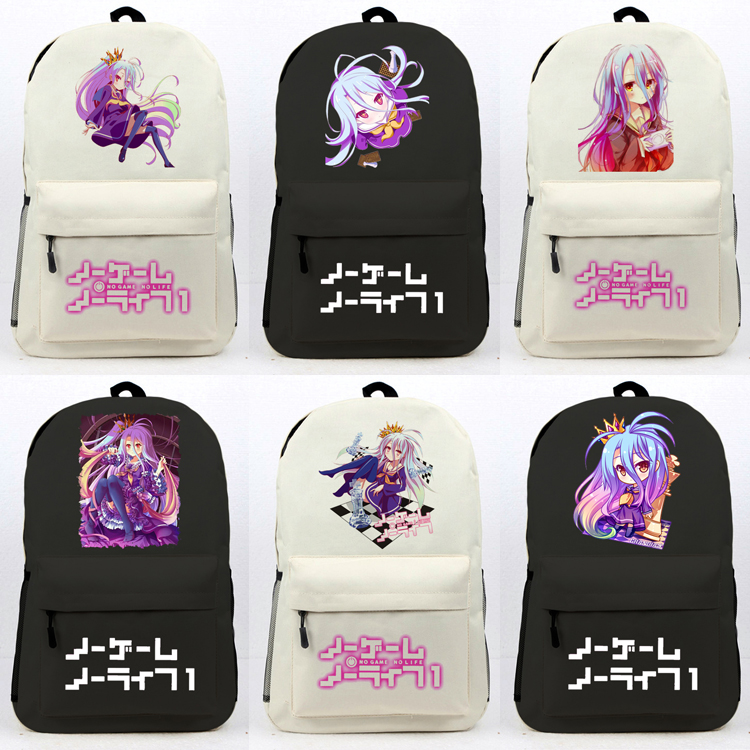 Anime no life no game backpack preppy style unisex high quality large capacity