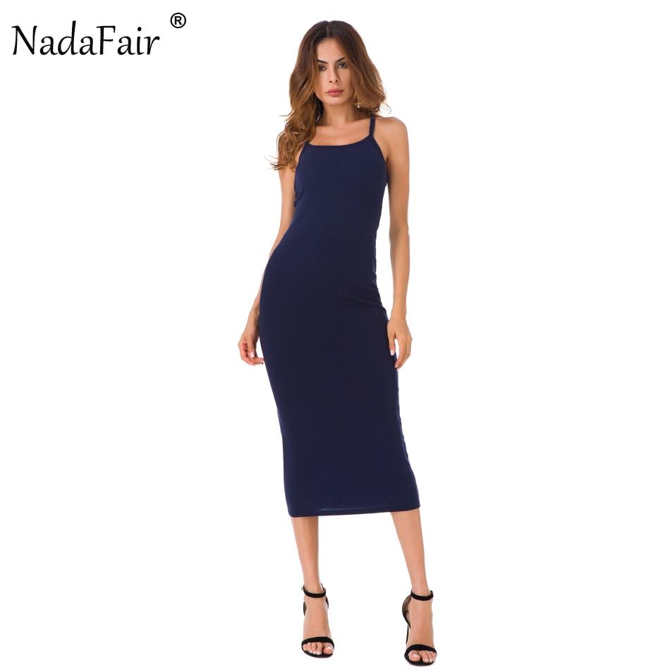 Nadafair Strap Mid Calf Stretch Cotton Summer Long Dress Women 2017 Casual Sexy Club Bodycon Skinny